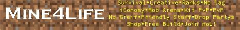 Mine4life 24/7 Survival | PvP | Kit PvP | Creative | Mob Arenas | No lag